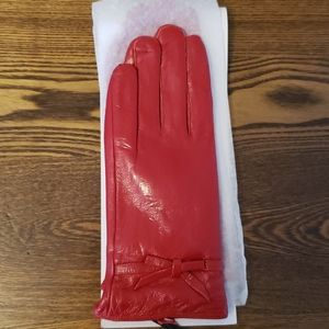 Leather XL Lined Winter Gloves - Red